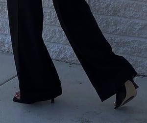 black heels, everyday look, and wide leg pants image