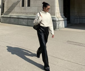 everyday look, black leather pants, and fashionista fashionable image
