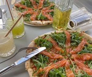 food, pizza, and smoked salmon image