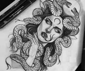 draw, girl, and snake image