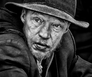 black and white, old man, and bw image