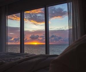 ocean, sea, and sunrise image