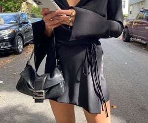everyday look, fendi bag, and black satin dress image