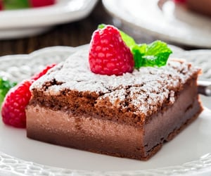 chocolate, strawberry, and custard pudding image