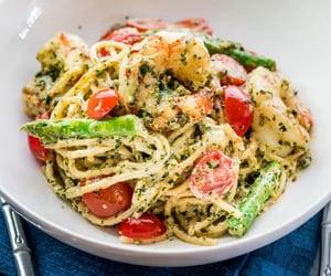asparagus, pasta, and shrimp image