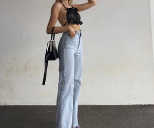 everyday look, wide leg jeans, and black heels shoes image