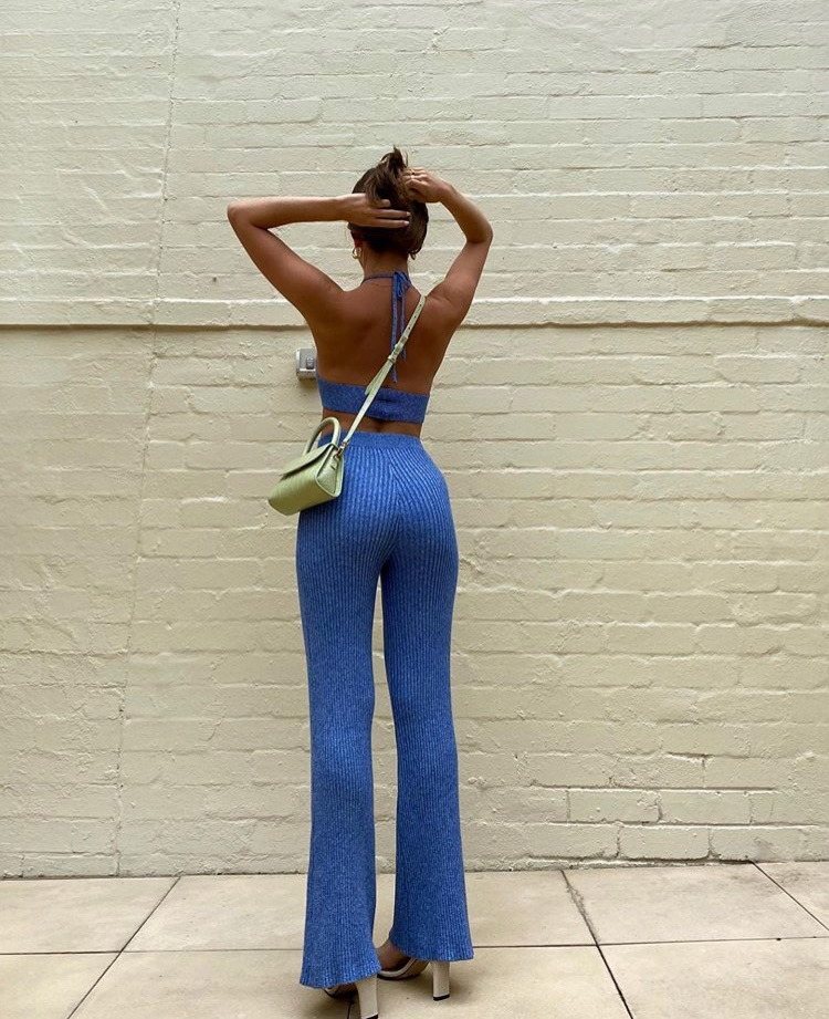 everyday look, backless top, and flared pants image