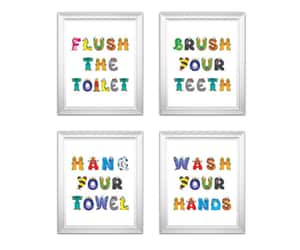 etsy, bathroom signs, and brush your teeth image