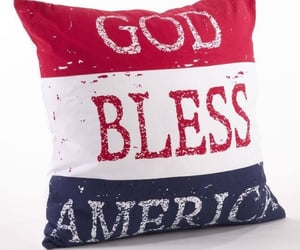pillow, red white and blue, and god bless america image