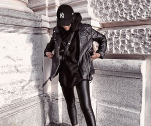 fashion, outfit, and leather jacket image