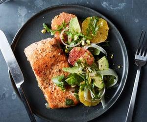 fish, salad, and grapefruit image
