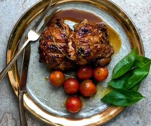pomegranate, roast, and grilled chicken image
