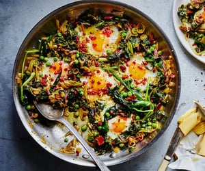 pea, baked egg, and pancetta image