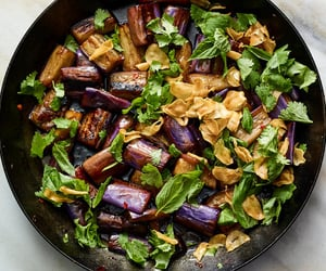 sweet and sour, eggplant, and herb image