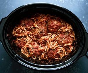 meatball, pasta, and spaghetti image