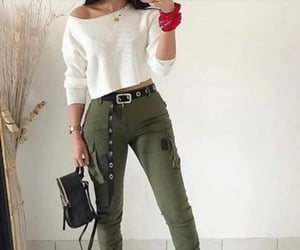 sweater, teen fashion, and cargo pants image