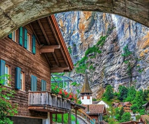 cabin, europe, and mountains image