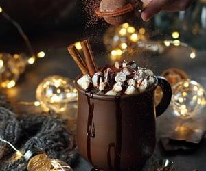 light, christmas, and hot chocolate image