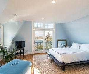 bedroom, wavy, and blue image
