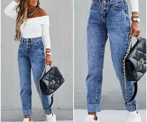 boyfriend jeans, denim jeans, and mom jeans image