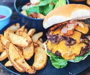 cheeseburger, wedges, and food image