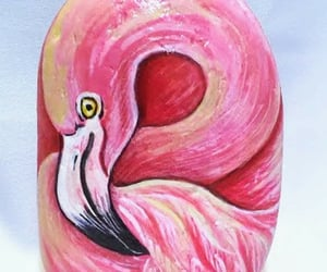 flamingo, painted, and rock image