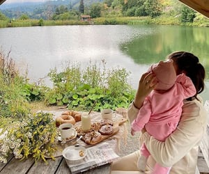 baby, breakfast, and camping image