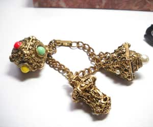 costume jewelry, etsy, and chain charm bracelet image