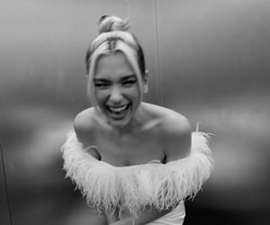 dua lipa, black and white, and fashion image