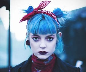 blue hair, dyed hair, and pastel-goth image