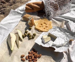 picnic, bread, and cheese image
