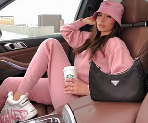 fashion, bucket hat, and pink image