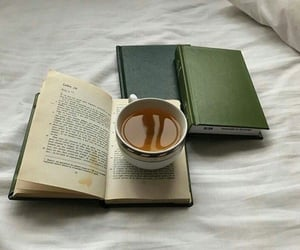 book, tea, and green image
