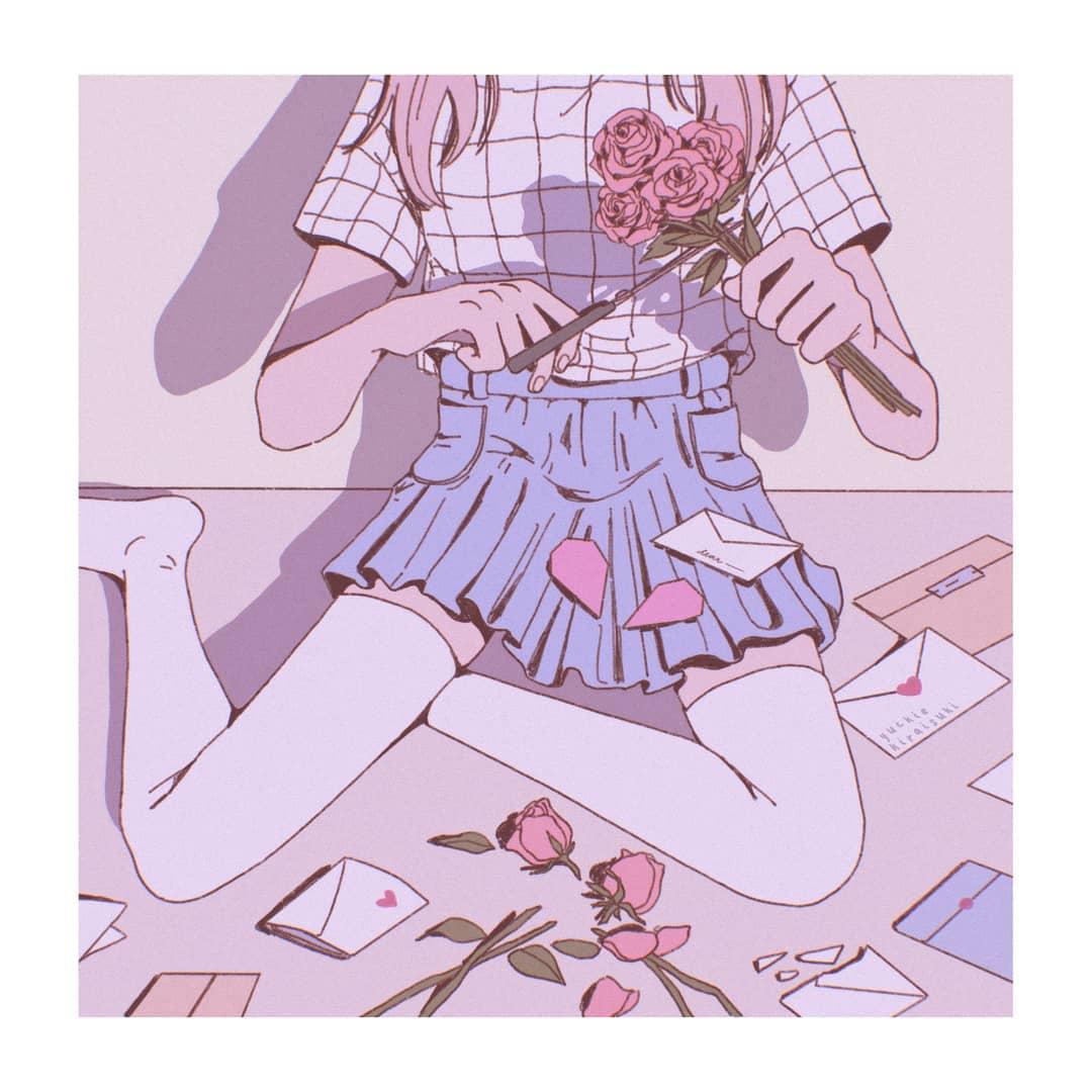 girl, illustration, and scissors image