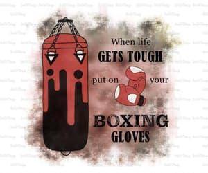 boxing gloves, etsy, and motivational quote image