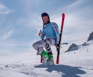 alpine, athlete, and skis image