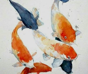 fish, watercolor, and animal image