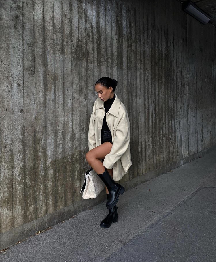everyday look, black shorts, and black ankle boots image