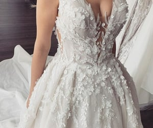 Wedding dress and flowers white