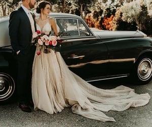 bride, car, and romance image