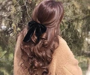 bow, curly hair, and hair image