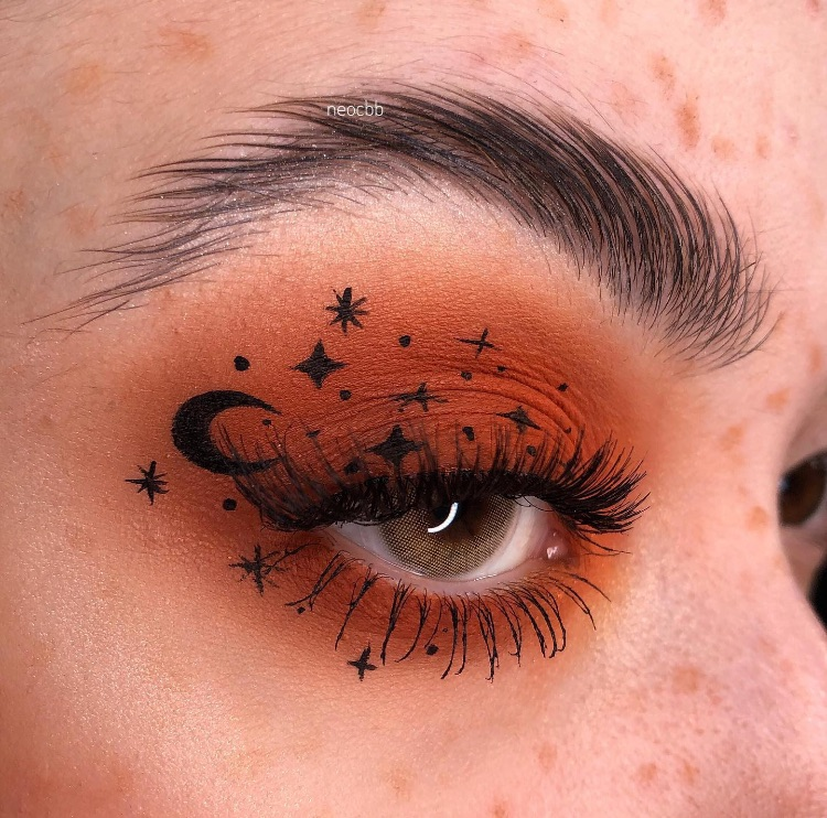 contacts, makeup, and orange image