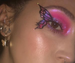 butterfly, glitter, and makeup image