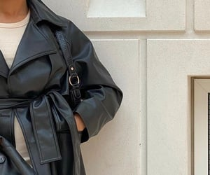 everyday look, chic elegant, and black leather coat image