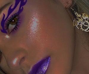 glitter, eyeliner, and purple image