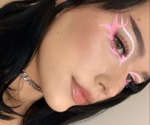 eyeliner, makeup, and pink image