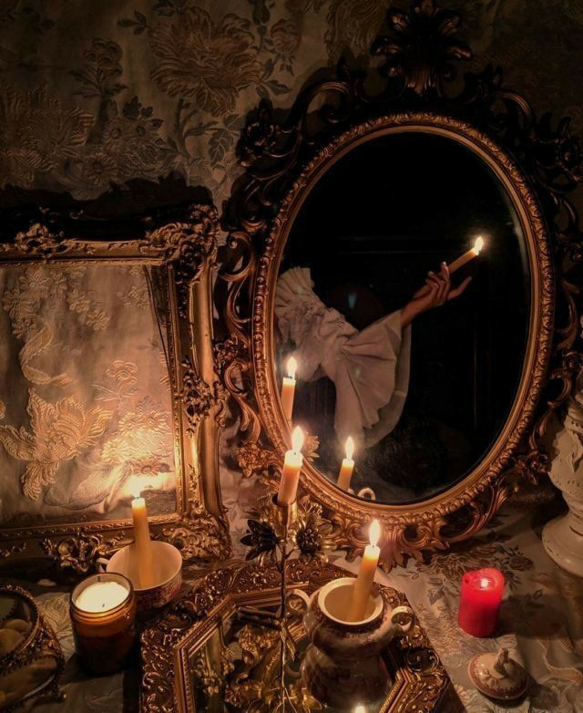 candles, vintage, and dark image