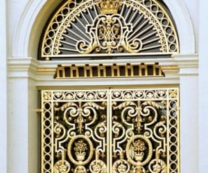 door, gold, and old image