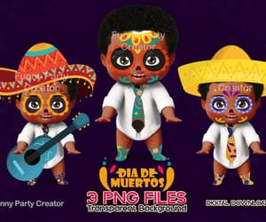 day of the dead, afro american, and girl clipart image