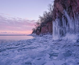 frozen, ice, and lake image